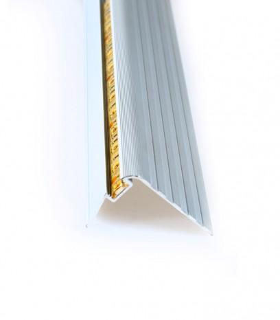 Ръб за стъпало с канал за LED лента - последващ монтаж - сребро мат