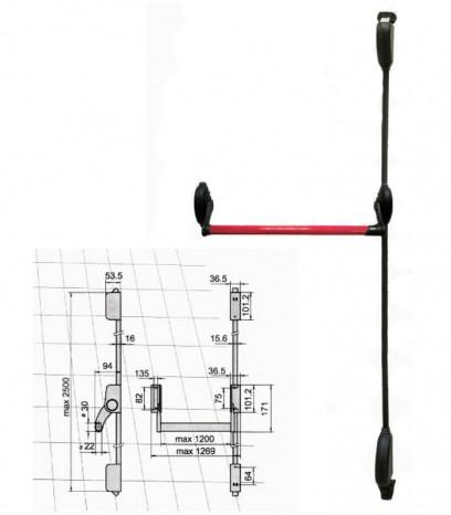 Антипаник брава - хоризонтална греда с вертикални лостове