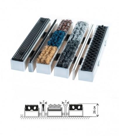 Изтривалка универсал екстра - гума - текстил + едноредова четка/остъргваща шина
