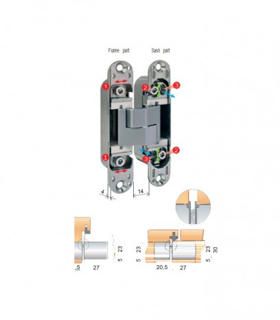 Регулираша панта за безфалцова врата модел Еклипс 3.0 - хром сатен