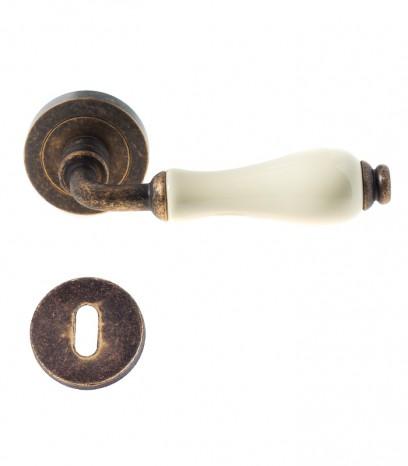 Дръжка за врата - модел 100 с розетка - антик + порцелан
